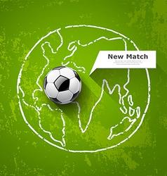 Soccer ball on map world design vector image