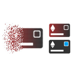 Sparkle pixel halftone ethereum credit card icon vector