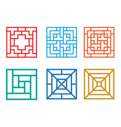 Square pattern window in chinese style vector