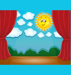Stage with happy sun 2 vector