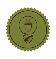 stamp light bulb flat icon with plug shape vector image