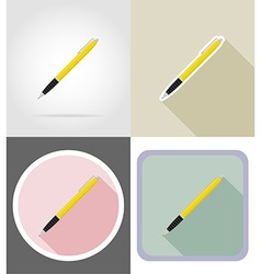 stationery flat icons 10 vector image