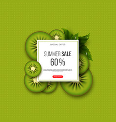 Summer sale banner with sliced kiwi pieces leaves vector