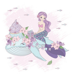 Sweet mermaid floral princess holiday illus vector