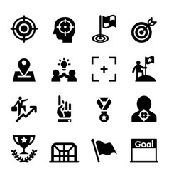 Target goal aim mission icon set vector