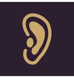 The ear icon Listen symbol Flat vector