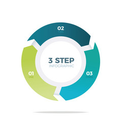 Three step circle infographic vector