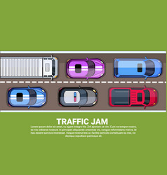 traffic jam top view road or highway full of vector image