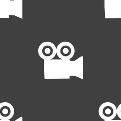 video camera icon sign Seamless pattern on a gray vector image