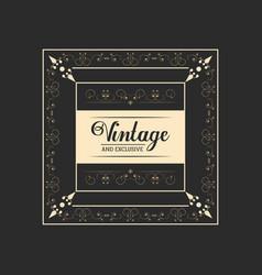 Vintage and exclusive badge lettering elegant vector