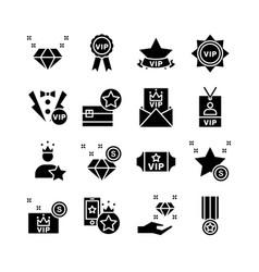 Vip line icon set royalty program exclusive di vector