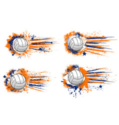 volleyball ball sport tournament halftone banners vector image