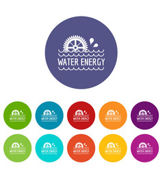 water energy icons set color vector image