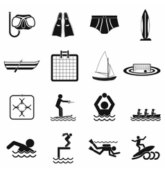 Water sport black simple icons vector
