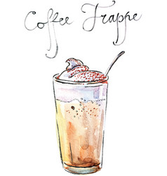 watercolor coffee frappe vector image