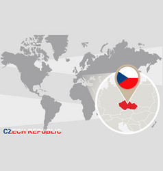 world map with magnified czech republic vector image