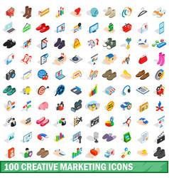 100 creative marketing icons set isometric style vector image vector image