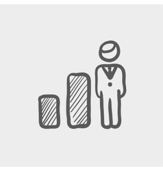 Businessman and graph sketch icon vector image