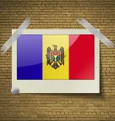 Flags Moldovaat frame on a brick background vector image vector image
