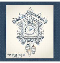 Old retro cuckoo clock postcard vector image