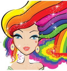 rainbow hair vector image
