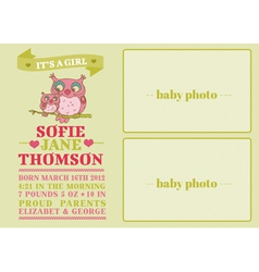 Baby Arrival Card with Cute Owl vector image vector image