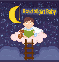 boy reads on cloud vector image vector image