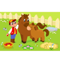 Boy with cute horse and colt vector image
