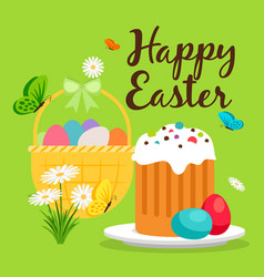 Easter basket and cake greeting card vector