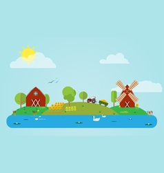 Flat Countryside vector image vector image