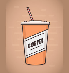 flat style paper coffee cup vector image