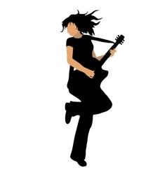 girl playing bass guitar vector image