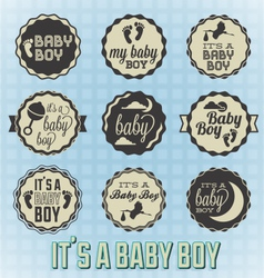 Its a Baby Boy Labels and Icons vector image