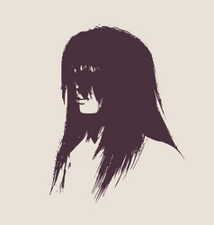 silhouette of a female head face half turn view vector image