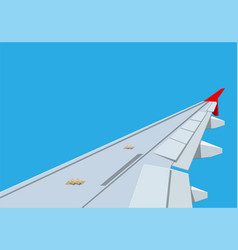 view of wing of aircraft in sky vector image