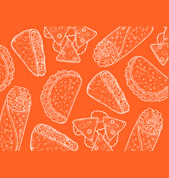 mexican food orange background graphic doodle vector image