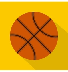 Orange basketball ball icon flat style vector image