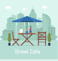 outdoor cafe with table and seats vector image