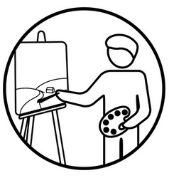 painter working on his masterpiece vector image