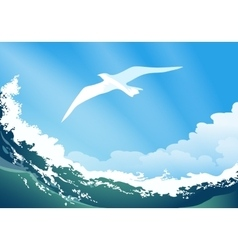 Seagull on the ocean wave vector image vector image
