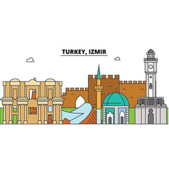 turkey izmir outline skyline turkish flat thin vector image vector image