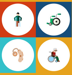 flat icon handicapped set of equipment injured vector image