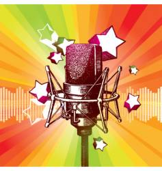hand drawn microphone and stars vector image vector image