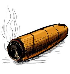 Lighting cigar sketch vector image