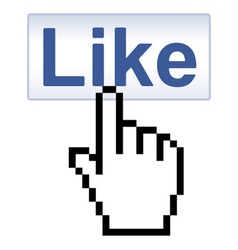 Like Button and pixelated Hand Cursor vector image vector image