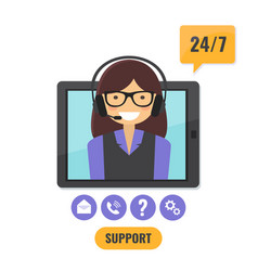 online tech support 24 7 service concept vector image