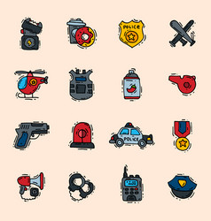 police icons policy signs of policeman or vector image