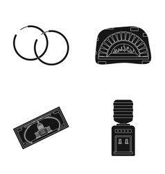 sergey a pizza oven and other web icon in black vector image