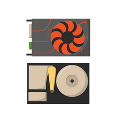 Video card with three outputs computer technology vector