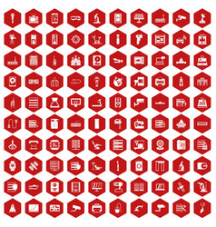 100 hardware icons hexagon red vector